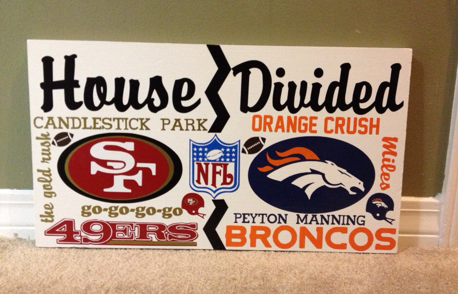 Wooden House Divided NFL Broncos vs 49ers
