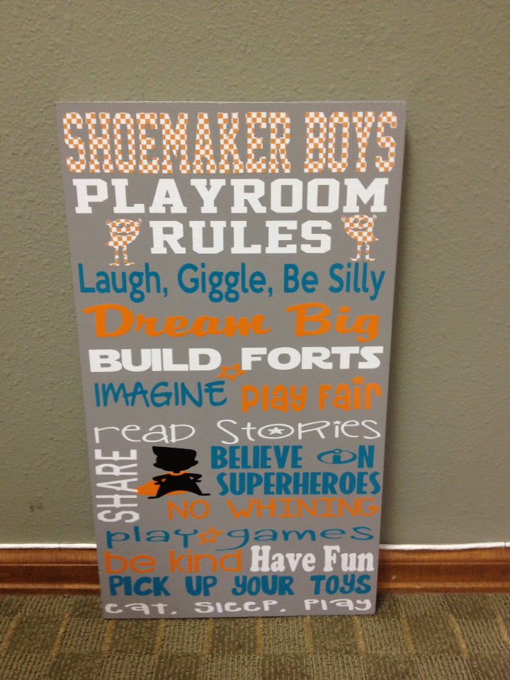 Personalized Wooden Playroom Rules Sign Subway Art 12x20""