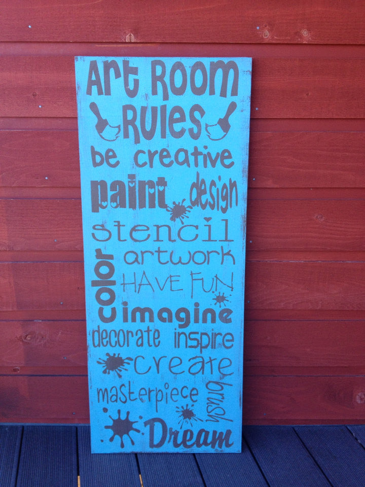 Personalized Wooden Art Room Rules Sign Subway Art 12x20""
