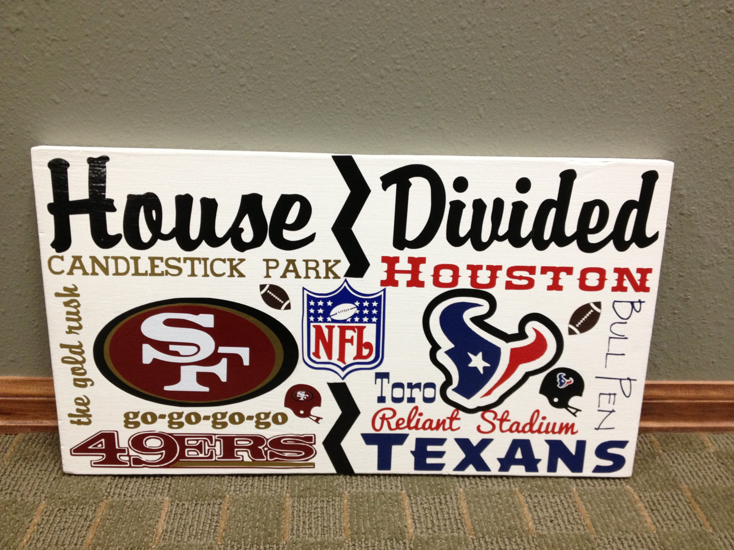 Wooden House Divided NFL Texans vs 49ers