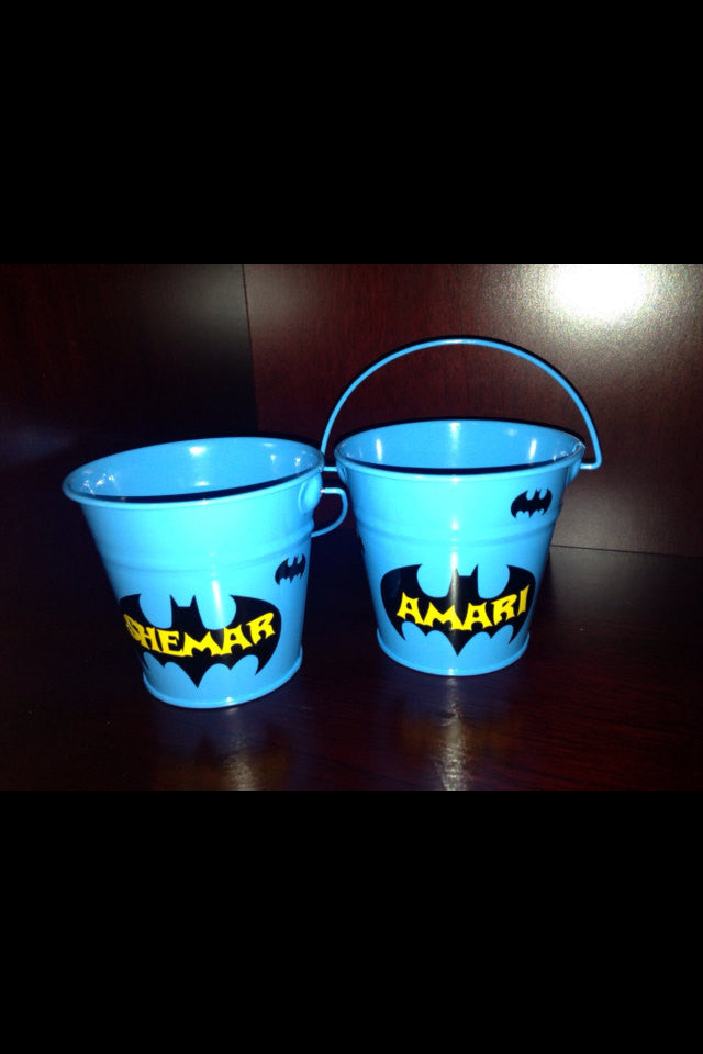 Personalized Kid's Batman Party Favor Metal Pails