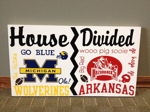 House Divided College Team Wall Sign Michigan vs Arkansas