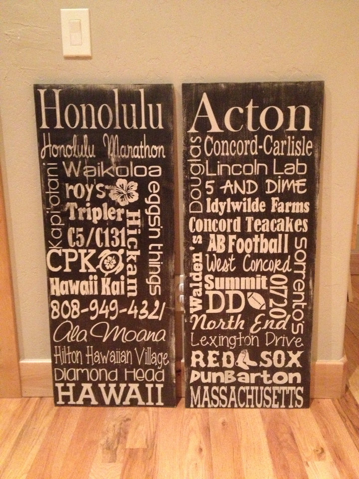 Personalized Wooden Distressed Hawaii Sign 16x40""