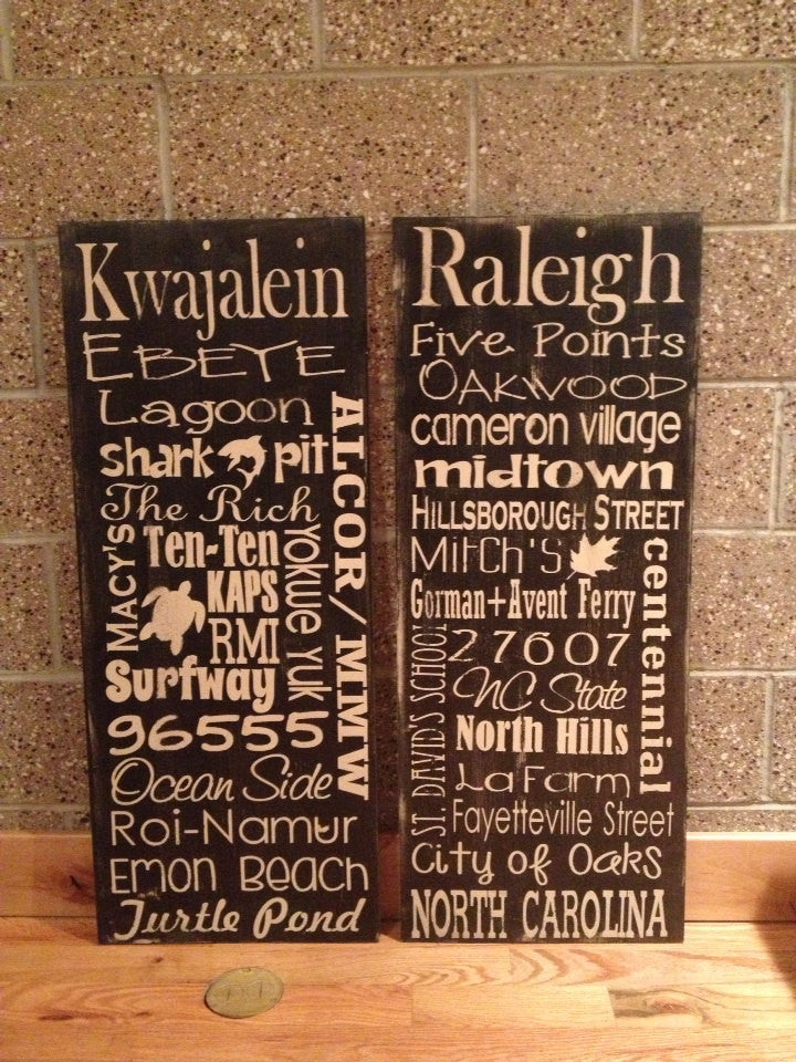 Personalized Wooden Distressed City Sign Raleigh 16x40""