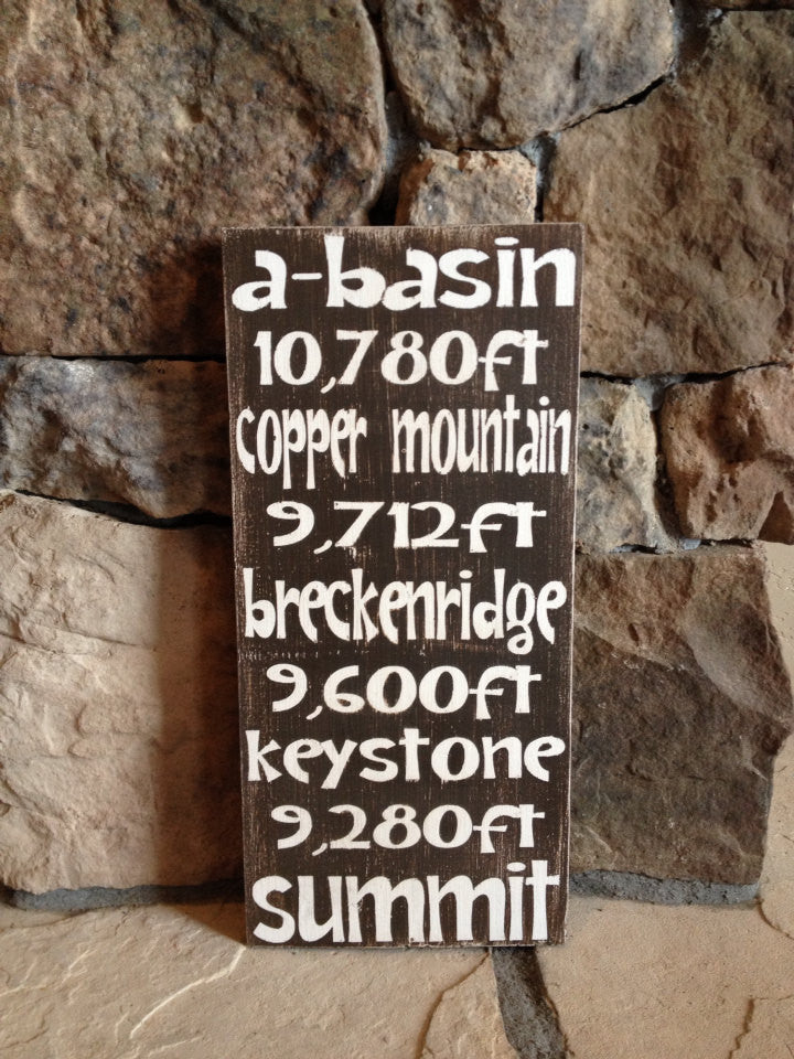 Personalized Wooden Distressed Breckenridge Keystone Mountain Sign