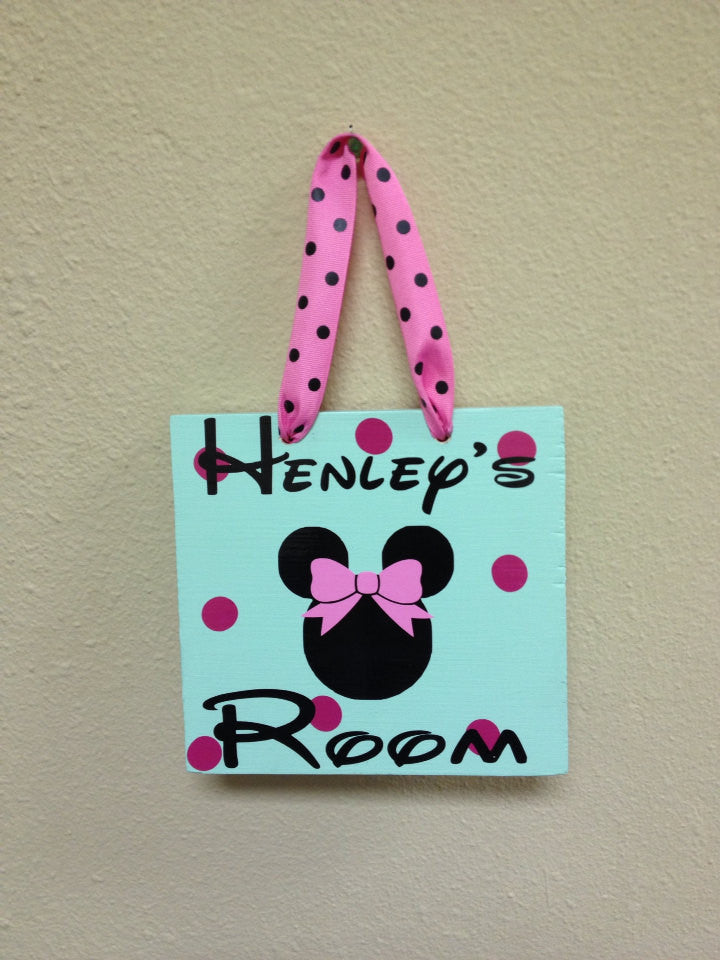 Personalized Wooden Minnie Child Room Playroom Sign