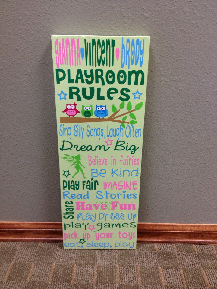 Personalized Wooden Playroom Rules Sign Triplets
