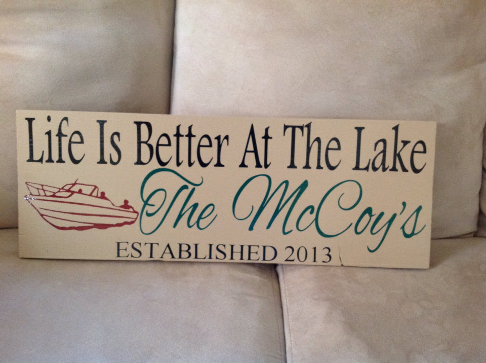 Personalized Wooden Lake house sign Boat