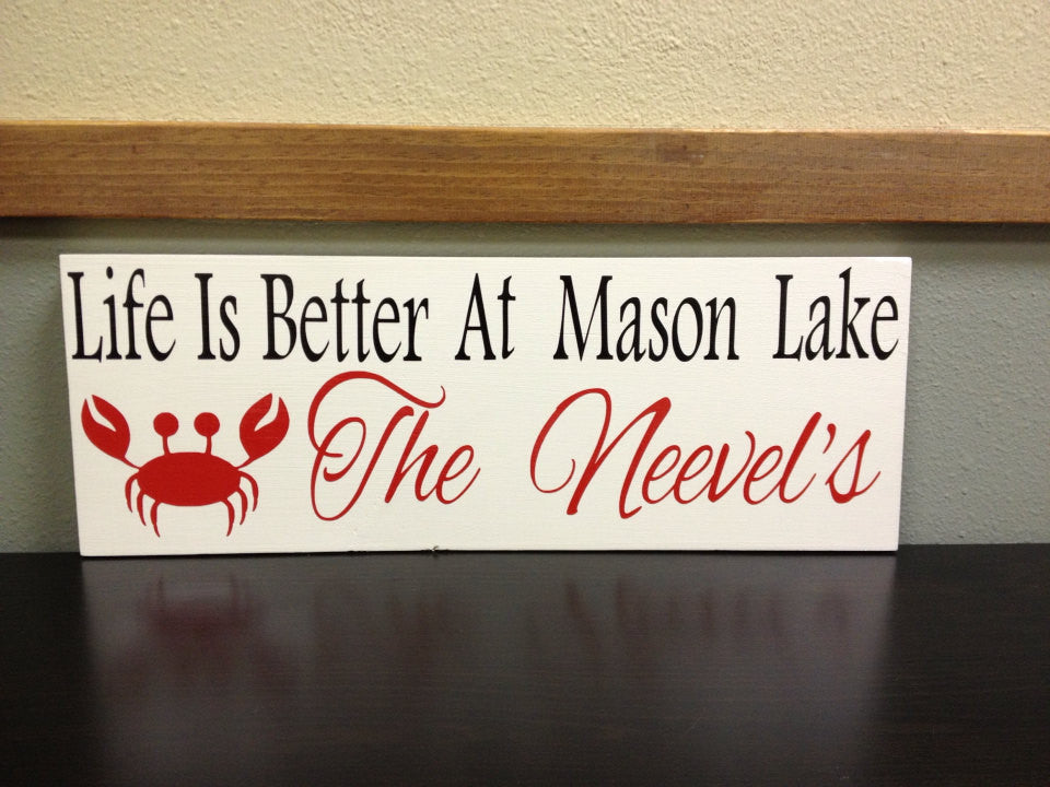 Personalized Wooden Lake house Sign