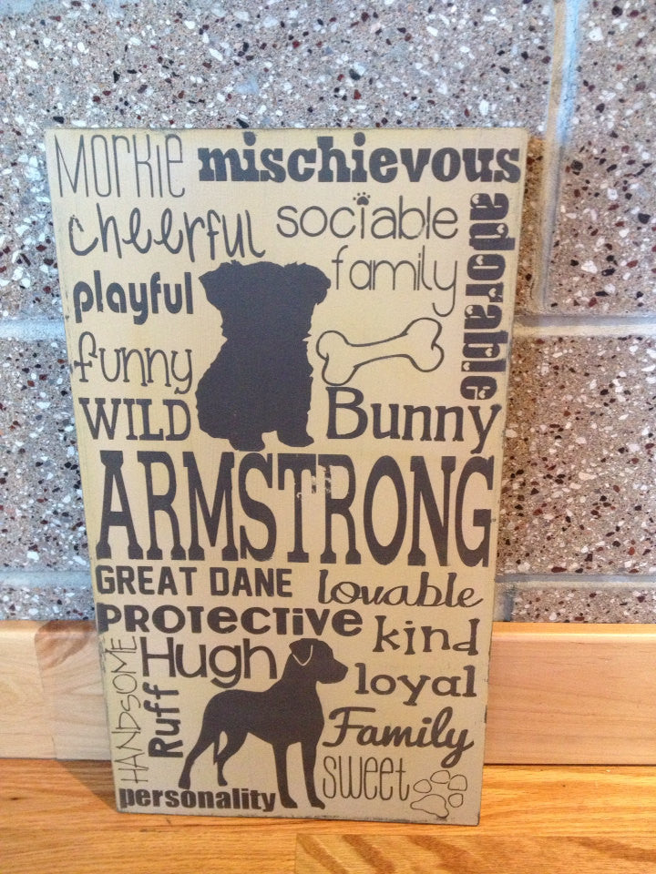 Distressed Wooden Dog Lover Sign Any Breed 12x20""