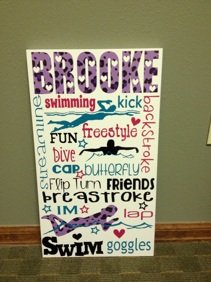 Personalized Wooden Swim Team Sign Teen