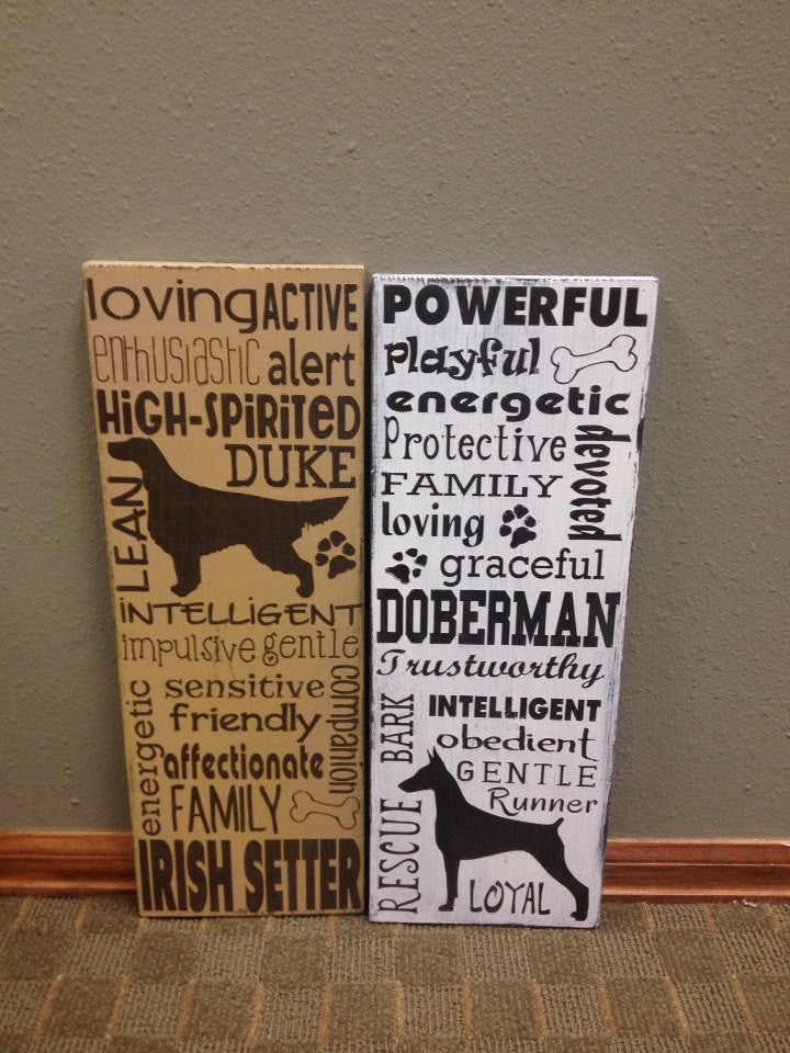 Distressed Wooden Dog Lover Sign Irish Setter