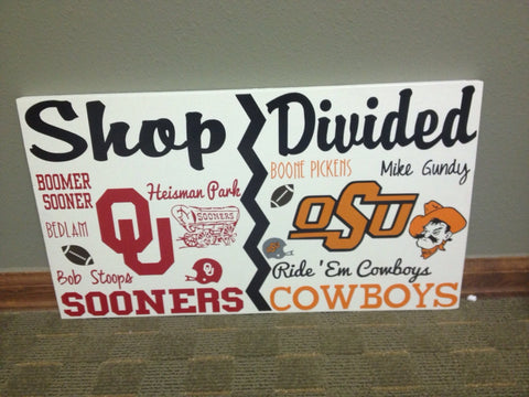 House Divided College Team Wall Sign Sooners vs cowboys