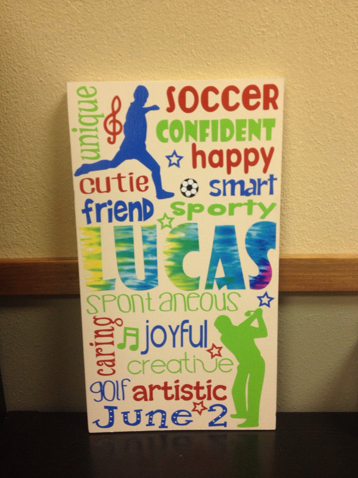 Personalized Wooden Soccer Boy Teen Subway Art 12x20""