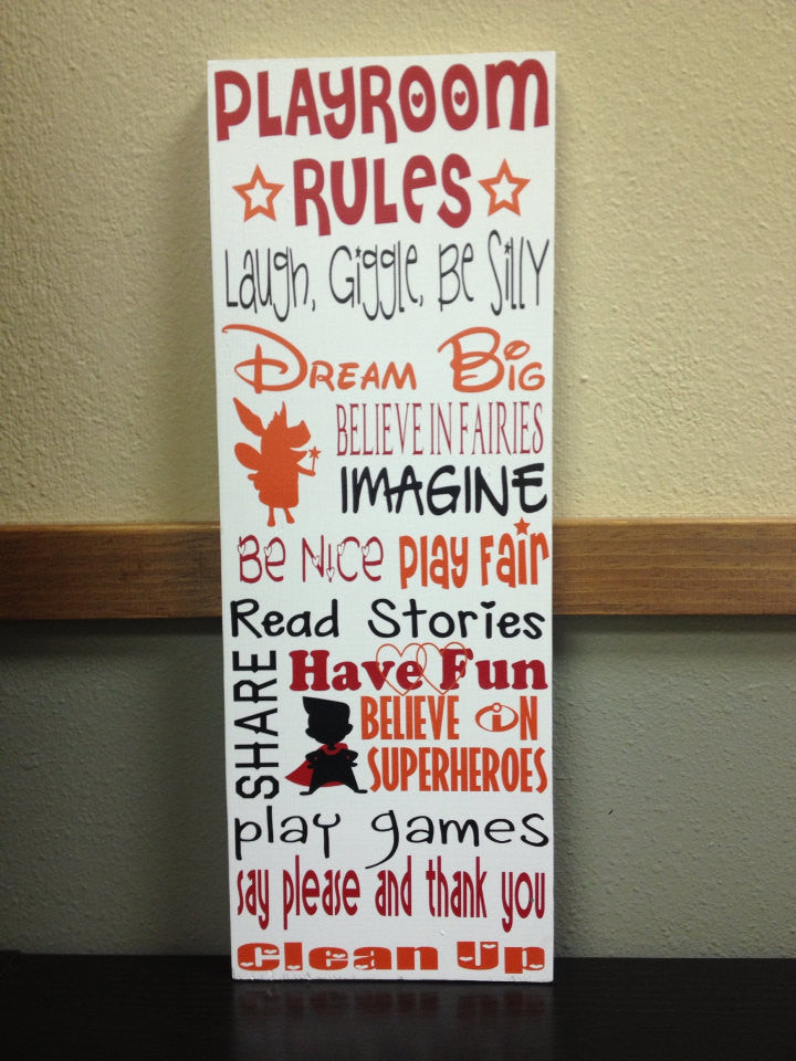 Personalized Wooden Playroom Rules Sign