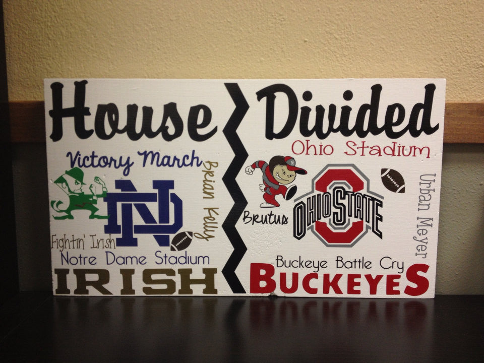 House Divided College Team Wall Sign Buckeyes vs Notre Dame