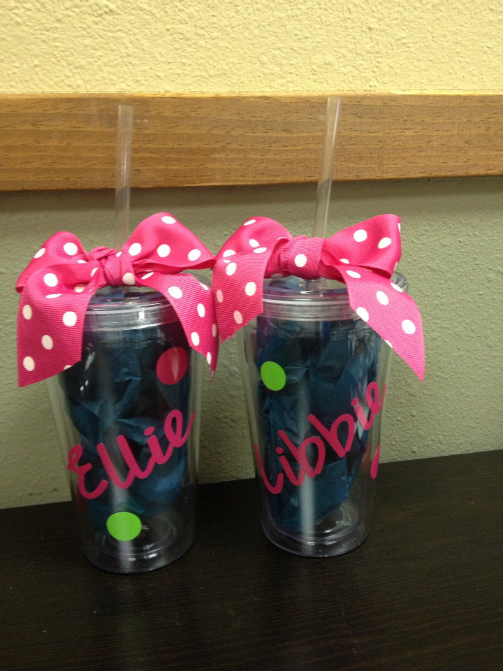 Personalized Tumbler Kids Polka Dots