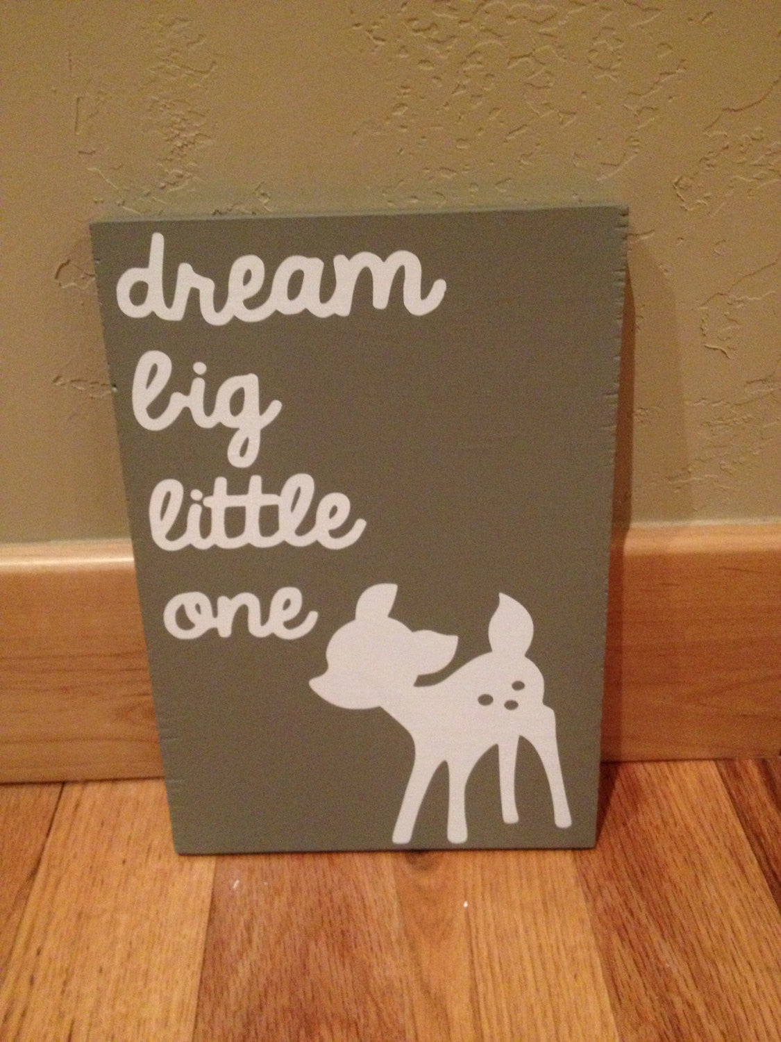 Dream Big Little One Baby Nursery wooden wall sign 8x12""