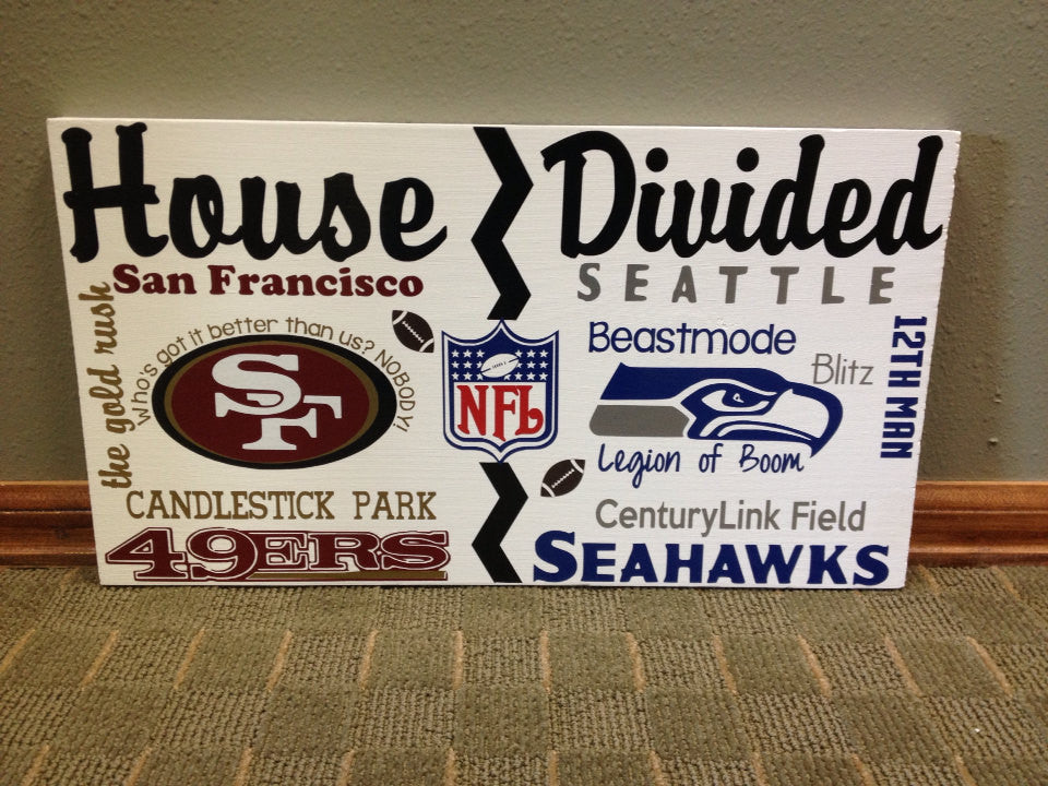 Wooden House Divided NFL Seahawks vs 49ers
