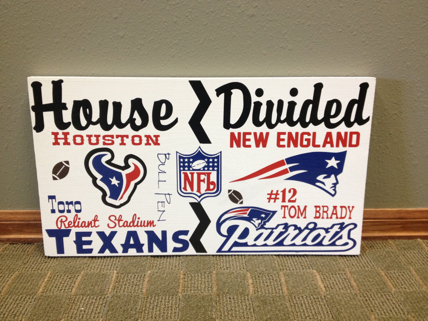 Wooden House Divided NFL Patriots vs Texans