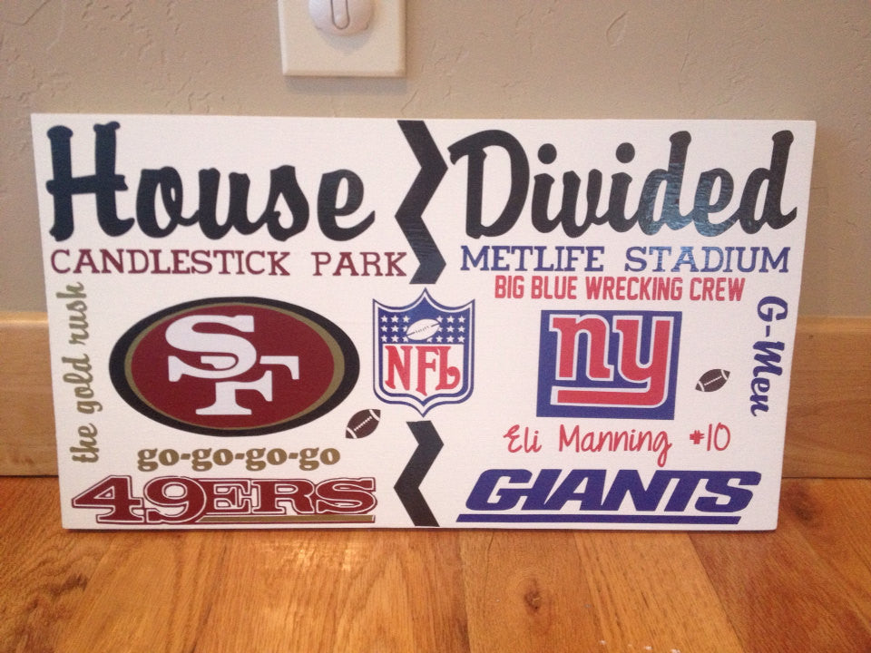 Wooden House Divided NFL Giants vs 49ers Team Sign