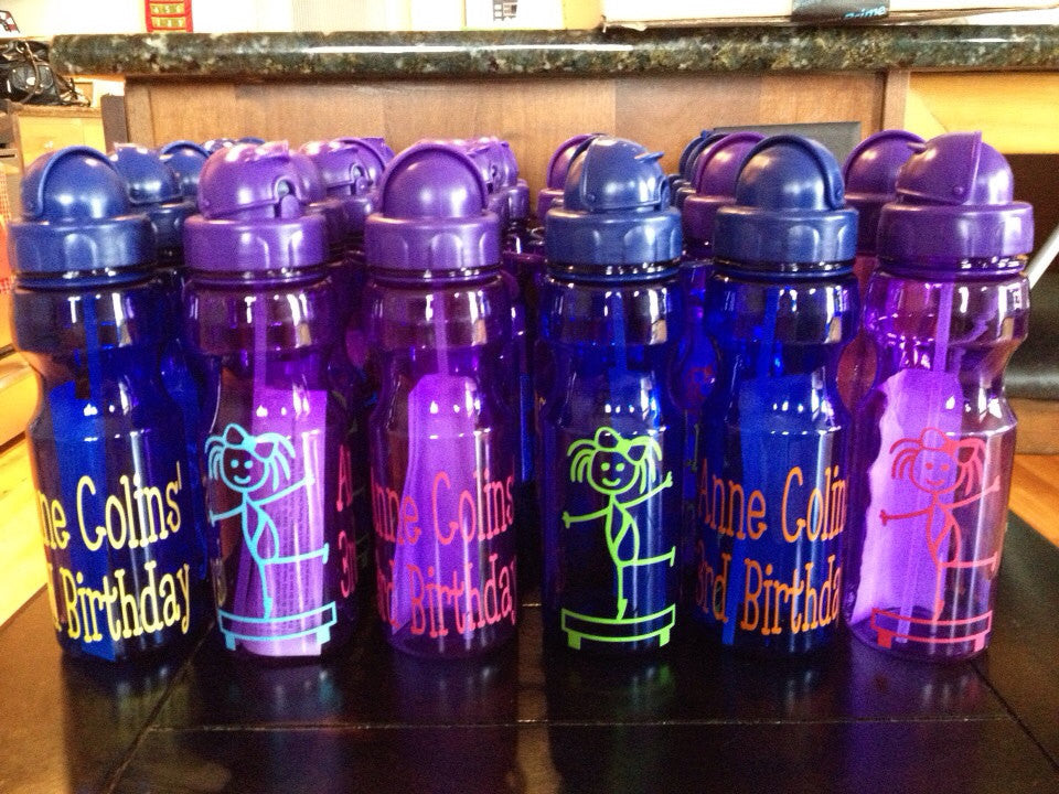 Personalized Kid's Water Bottles Gymnast Party