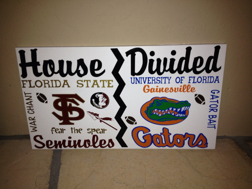 House Divided College Team Wall Sign Seminoles Vs Gators