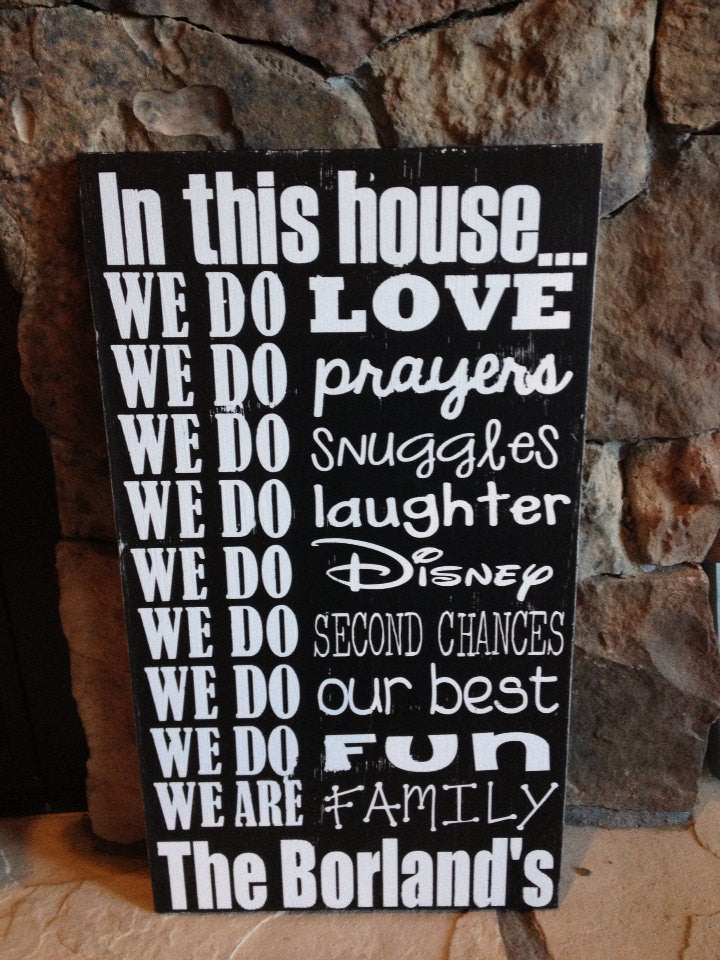 Personalized Wooden Sign House Rules Disney