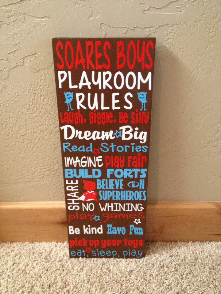 Personalized Wooden Boys Playroom Rules Sign 8x20""
