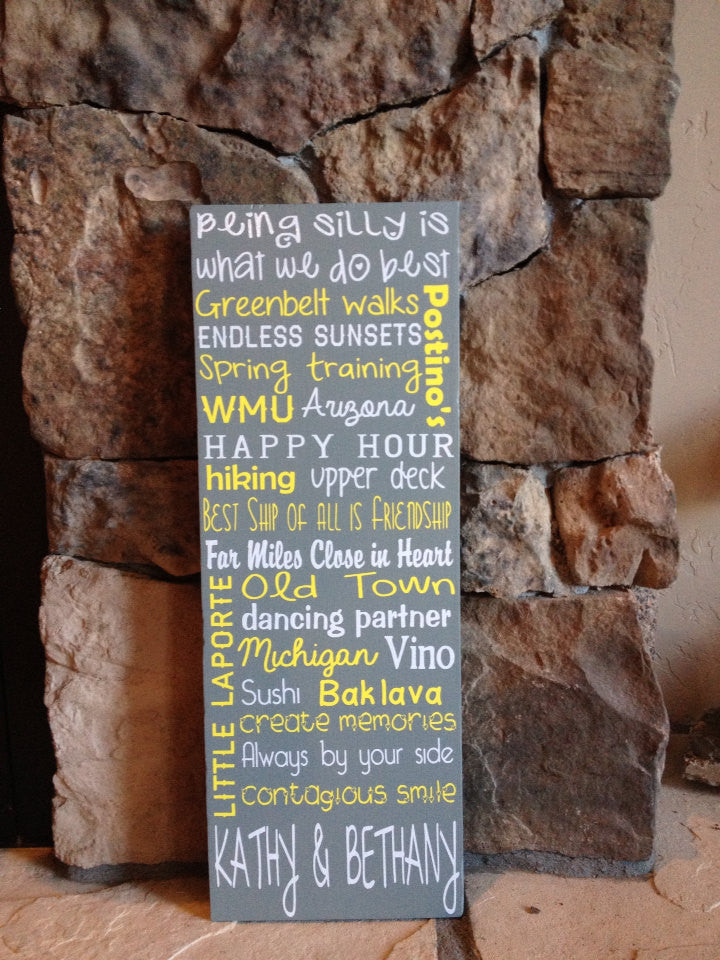 Personalized Wooden Friendship Sign 8x20""