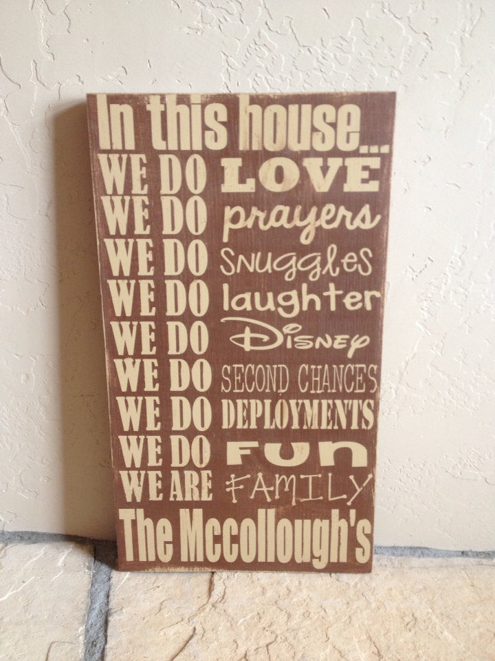 Personalized Wooden Sign Family House Rules Deployment- Military Family