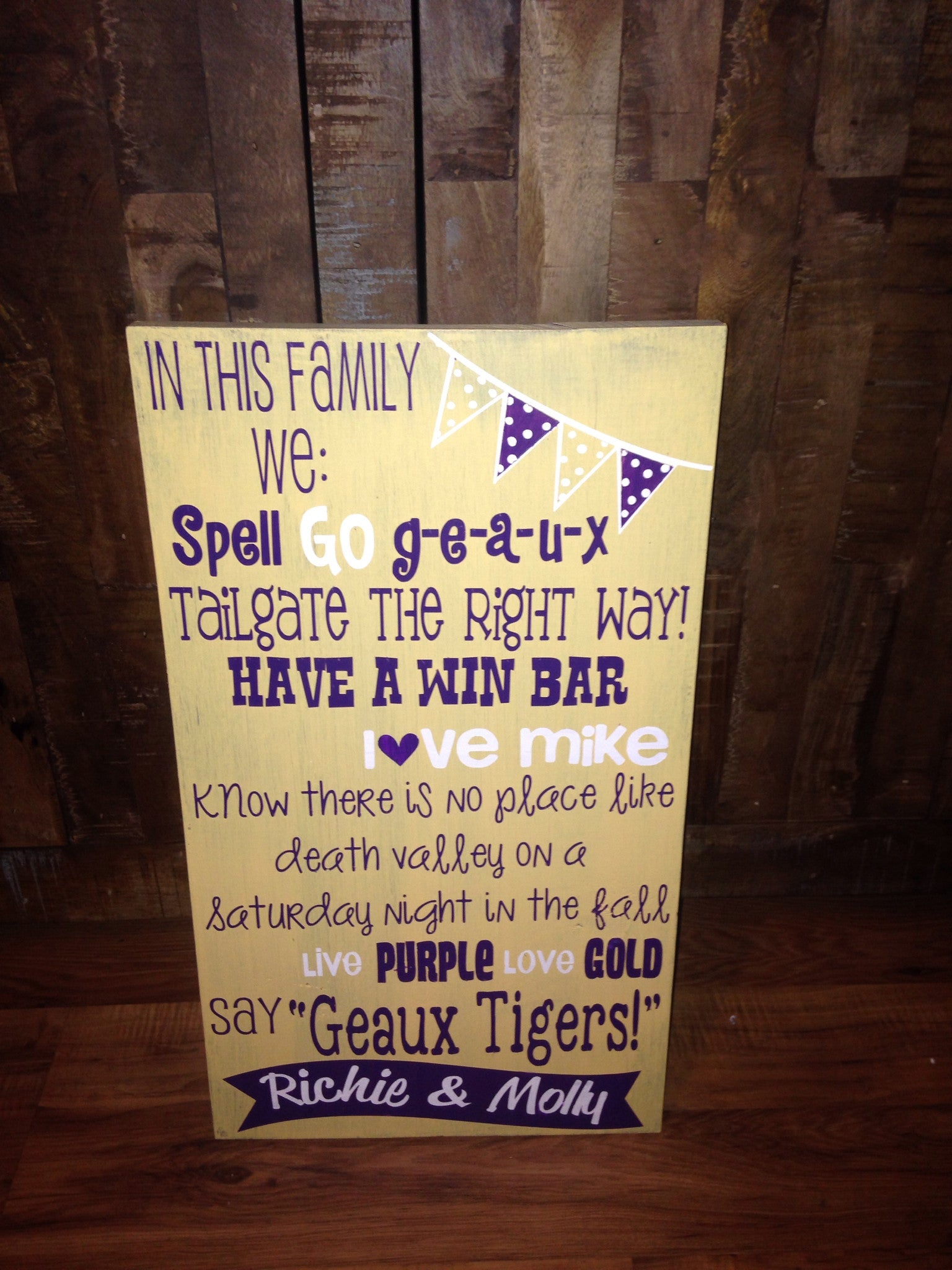 Wooden Personalized LSU football in this Family Rustic Sign