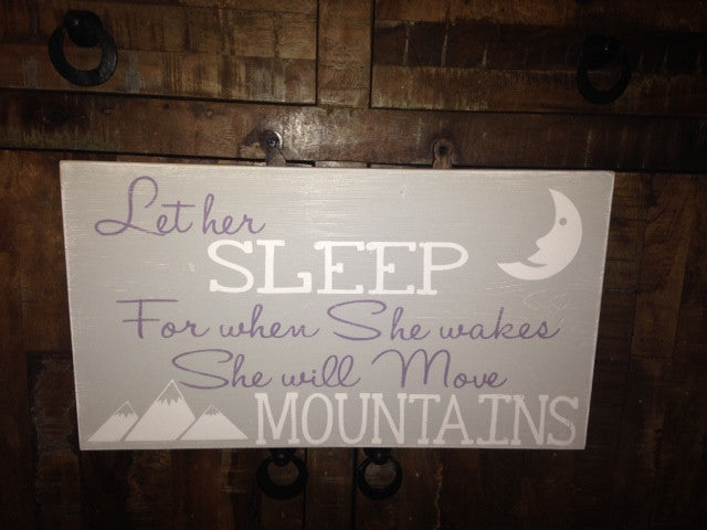 Rustic Distressed Let Her Sleep Nursery Baby Wooden Wall Sign