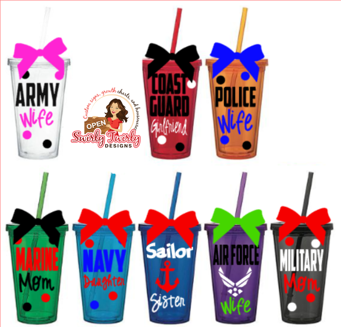 Personalized Military Family Law Enforcement Tumbler
