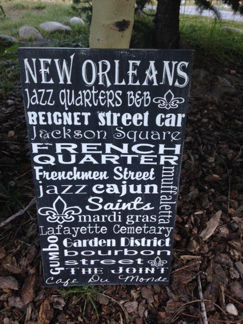 Personalized Wooden Distressed City Sign New Orleans 12x20""