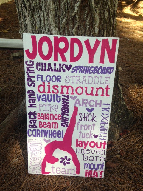 Personalized Wooden Teen Sign Gymnastics 12x20""