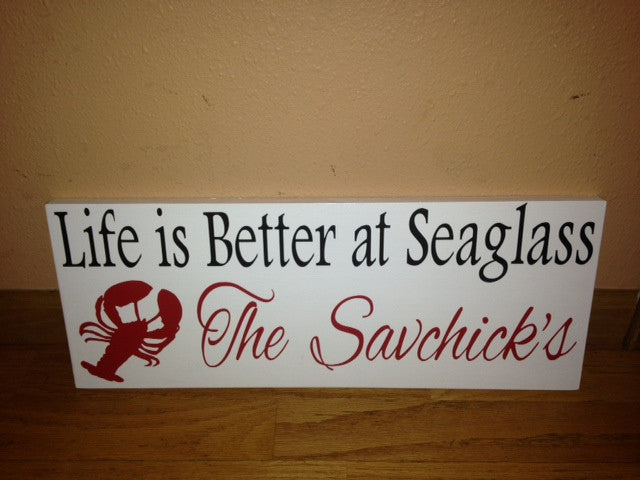 Personalized Wooden Lake house Sign Lobster