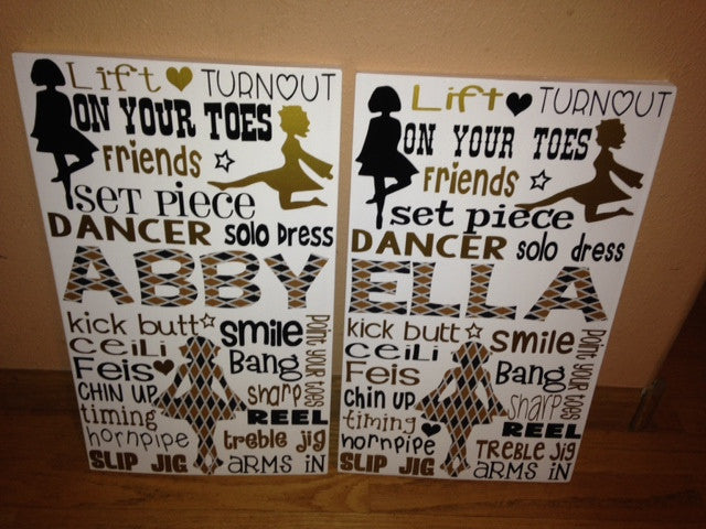 Personalized Wooden Irish Dance Sign Teen Room Gaelic Celtic