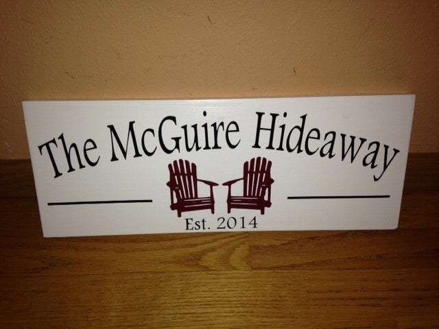 Personalized Wooden Vacation Home Hideaway Sign