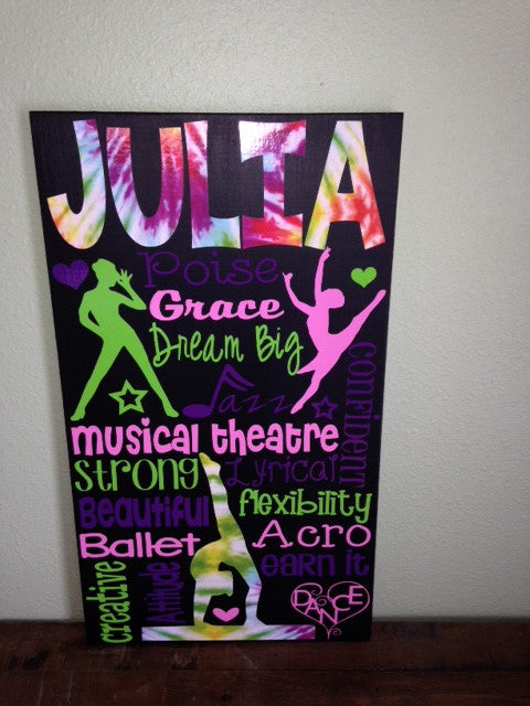 Personalized Wooden Dance Dancer Sign Tap Jazz Teen