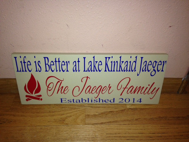 Personalized Wooden Vacation Lake Hoouse Sign Fire pit
