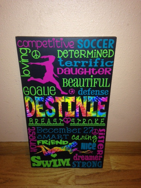 Personalized Wooden Swim and Soccer Team Sign Teen 12x20""