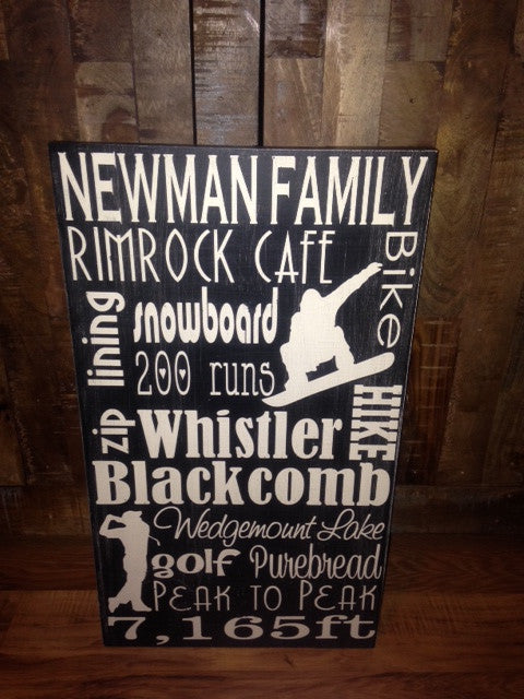 Personalized Wooden Distressed Whistler Blackcomb City Sign 12x20""