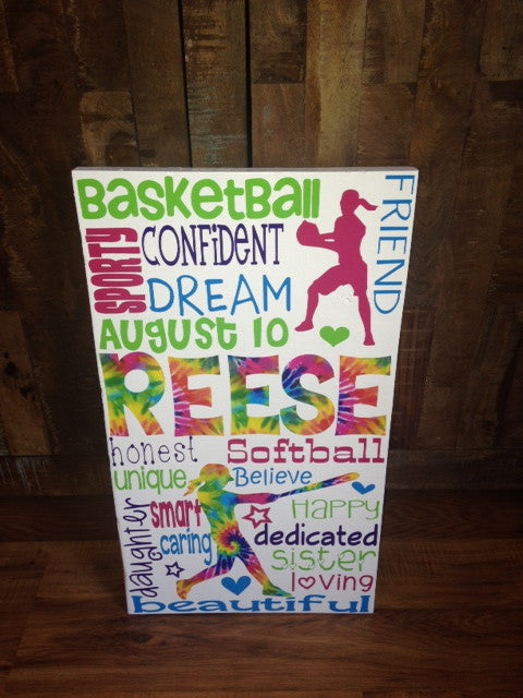 Personalized Wooden Basketball and Softball Sign Teen 12x20""