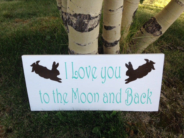 Peter Rabbit Nursery Wooden Wall Sign Moon and back