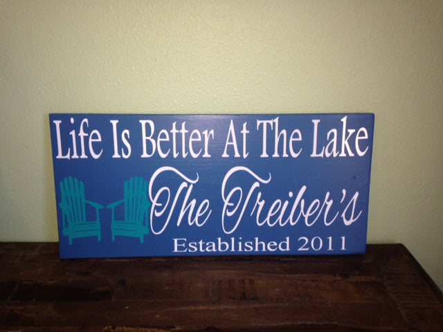 Personalized Wooden Lake house Established date sign