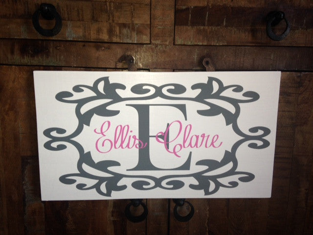 Monogrammed Personalized Wooden Name Sign Nursery