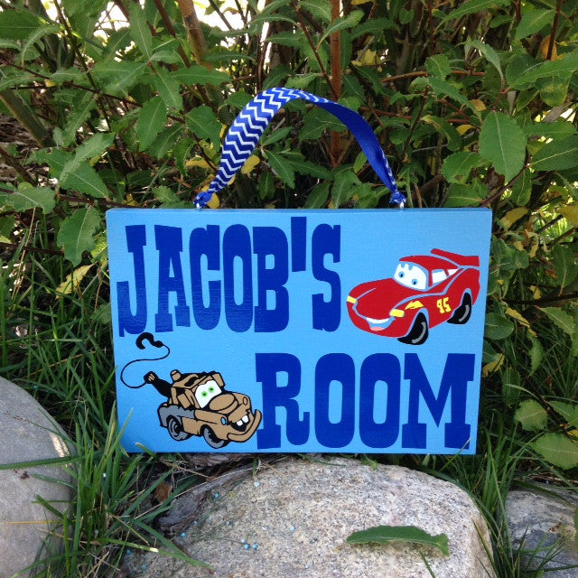 Personalized Wooden Cars Theme Playroom Room Sign 8x12""
