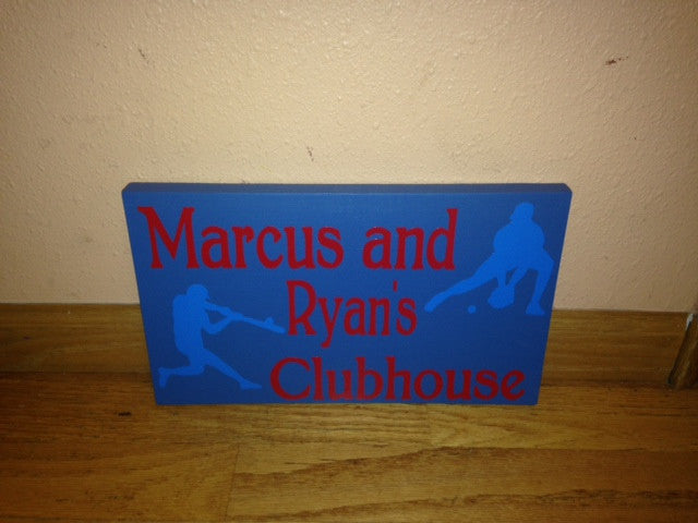 Personalized Wooden Playhouse clubhouse Playroom Sign Baseball