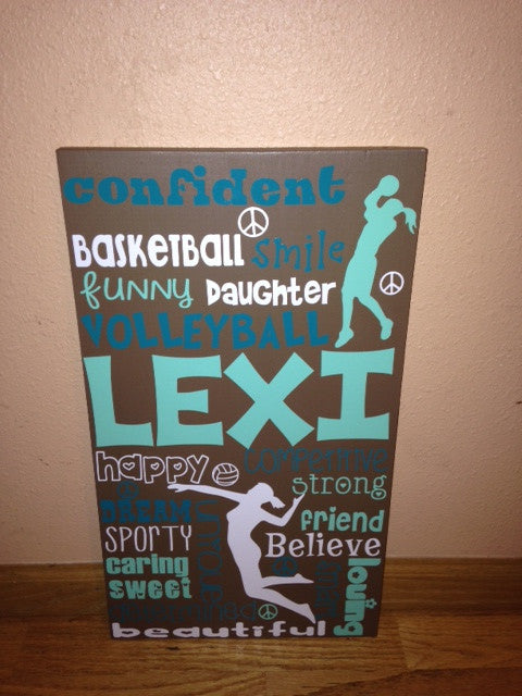 Personalized Wooden Soccer and Basketball Teen 12x20""